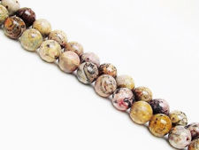 Picture of 8x8 mm, round, gemstone beads, leopard skin jasper or Mexican Rhyolite, natural