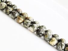 Picture of 8x8 mm, round, gemstone beads, rhyolite, green, natural