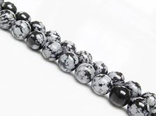 Picture of 8x8 mm, round, gemstone beads, obsidian, snowflake, natural