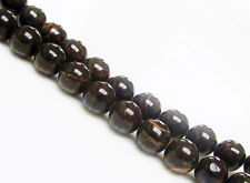 Picture of 8x8 mm, round, gemstone beads, obsidian, russet red banded, natural