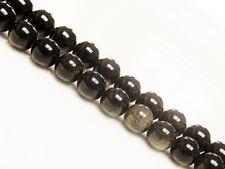 Afbeelding van 8x8 mm, rond, edelsteen kralen, obsidiaan, goud glanzend, natuurlijk