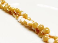 Picture of 6x6 mm, round, organic gemstone beads, mother of pearl, beige, natural