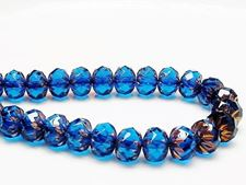 Picture of 7x10 mm, carved cruller beads, Czech, deep sky blue, transparent, rusty bronze