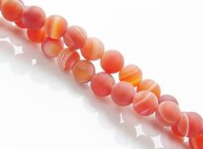 Picture of 6x6 mm, round, gemstone beads, natural striped agate, orange-red, frosted