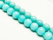 Picture of 12x12 mm, round, gemstone beads, jade, light turquoise green, A-grade