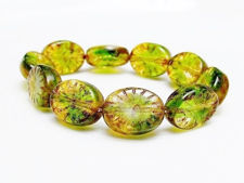 Picture of 5x14x11 mm, Czech druk beads, puffy oval, variegated crystal and moss green, transparent, picasso comma dashes