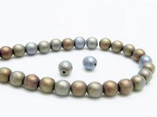 Picture of 6x6 mm, round, Czech druk beads, black, opaque, bleu brown iris, matte