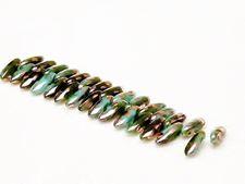 Image de 3x11 mm, perles de verre pressé tchèque, daggers mini, vert sarcelle, opaque, finition pointillée d'or rose
