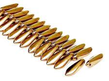 Image de 5x16 mm, perles de verre pressé tchèque, daggers, noirs, opaques, lustre doré
