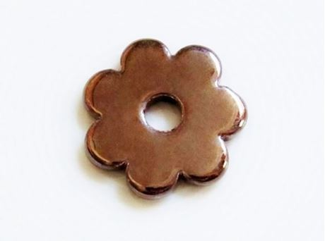 Picture of 34x34 mm, pendant, Greek ceramic daisy, bronze brown enamel
