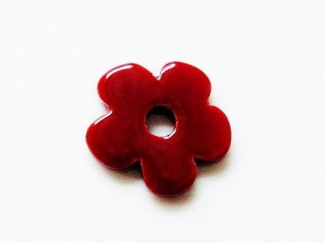Picture of 25x25 mm, pendant, Greek ceramic daisy, pearly red enamel