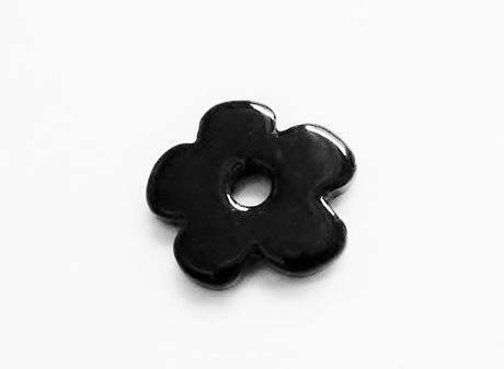 Picture of 25x25 mm, pendant, Greek ceramic daisy, jet black enamel