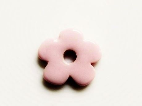 Picture of 25x25 mm, pendant, Greek ceramic daisy, antique pink enamel