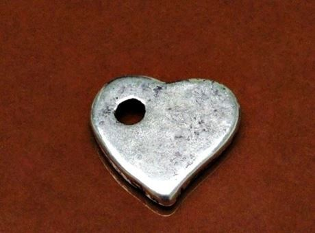 Picture of 27x25 mm, Greek ceramic pendant, Follow your Heart, antique silver-metalized
