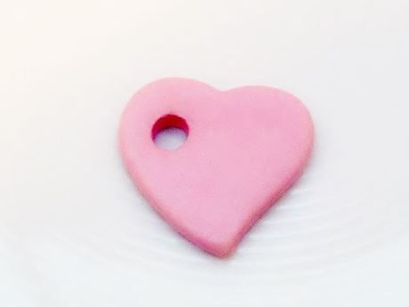 Picture of 27x25 mm, Greek ceramic pendant, Follow your Heart, rosewater pink, matte