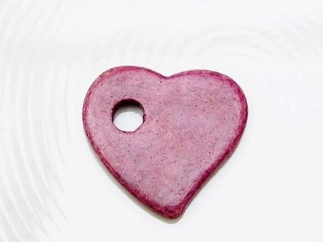 Picture of 27x25 mm, Greek ceramic pendant, Follow your Heart, swallow purple pink, matte