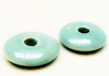 Picture of 26x26 mm, focal pendant, Greek ceramic donut, light turquoise green enamel