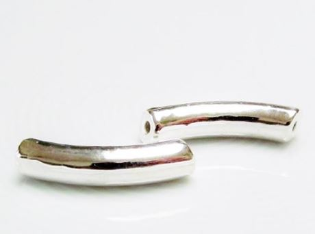 Picture of 27x6 mm, Greek ceramic tube beads, curved, silver-metalized