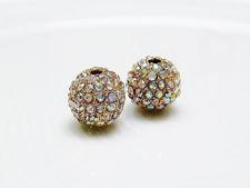 Afbeelding van 10x10 mm, rond, kralen in legering, verguld, AB gecoate pavé kristallen, 2 stuks