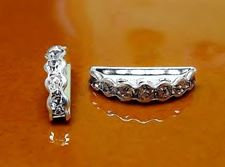 Picture of 7x19 mm, brass rhinestone separators, 3-row, crystal-silver-plated, 5 pieces