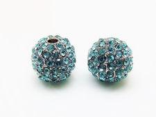 Afbeelding van 10x10 mm, rond, kralen in legering, gerhodineerd, turkoois blauwe pavé kristallen, 2 stuks