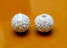 Afbeelding van 10x10 mm, rond, kralen in legering, verzilverd, AB gecoate pavé kristallen, 2 stuks