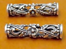 Picture of 8x30 mm, large hole tube, Zamak beads, silver-plated, filigree