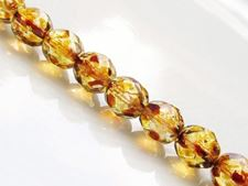 Picture of 8x8 mm, Czech faceted round beads, crystal, transparent, picasso, pre-strung