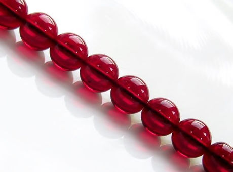 Picture of 10x10 mm, round, Czech druk beads, garnet red, transparent, pre-strung, 20 beads