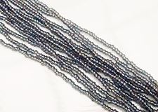 Picture of Czech seed beads, size 11/0, pre-strung, diamond blue black, AB
