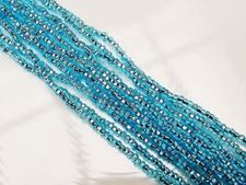 Picture of Czech seed beads, size 11/0, pre-strung, light aqua blue, silver-lined