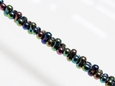 Picture of 2x4 mm, Japanese peanut-shaped seed beads, opaque, black, rainbow luster