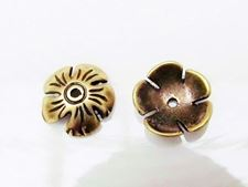 Picture of 10 mm, bead caps, flower, JBB findings, brass-plated pewter, 2 pieces