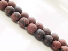 Picture of 8x8 mm, round, gemstone beads, black spotted brown jasper, natural, frosted