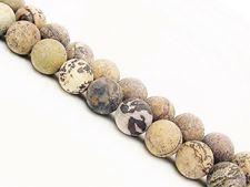 Afbeelding van 8x8 mm, rond, edelsteen kralen, Chinese schilderij steen, natuurlijk, mat
