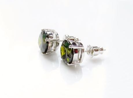 "Picture of ""Brilliant cut"" modern stud earrings, sterling silver, round cubic zirconia, large, 9 mm, moss green"