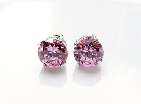 "Picture of ""Brilliant cut"" modern stud earrings, sterling silver, round cubic zirconia, large, 9 mm, pink"
