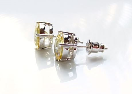 "Picture of ""Brilliant cut"" modern stud earrings, sterling silver, round cubic zirconia, large, 9 mm, yellow"
