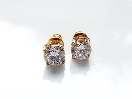 "Picture of ""Brilliant"" cut modern stud earrings, sterling silver, gold-plated, round cubic zirconia, small, 6 mm"