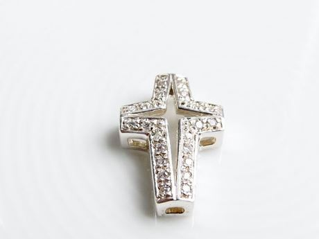 "Picture of ""Cross with Cut out Star"" slide pendant in Italian sterling silver edged with round cubic zirconia"