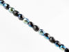 Picture of 3x3 mm, Czech faceted round beads, black, opaque, blue flare