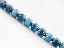 Picture of 6x6 mm, cathedral, Czech beads, variegated turquoise blue and Montana blue, opaque, silver coated sides