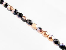 Picture of 3x3 mm, Czech faceted round beads, black, opaque, half tone rose gold mirror