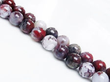Picture of 8x8 mm, round, gemstone beads, pietersite or Tempest stone, red, natural