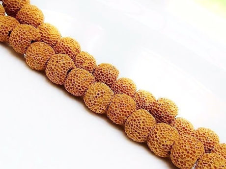 Picture of 10x10 mm, round, gemstone beads, lava rock, dyed ocher yellow