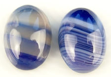 Picture of 13x18 mm, oval, gemstone cabochons, natural striped agate, blue