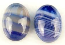 Afbeelding van 13x18 mm, ovaal, edelsteen cabochons, natuurlijke gestreepte agaat, blauw