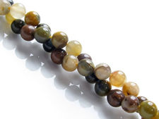 Picture of 6x6 mm, round, gemstone beads, pietersite, yellow and green, natural