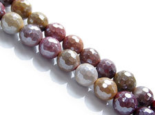 Picture of 8x8 mm, round, gemstone beads, Mookaite Windalia Radiolarite, natural, in small facets, metallic sheen