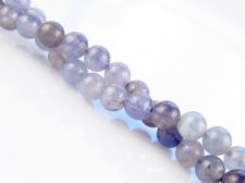 Picture of 6x6 mm, round, gemstone beads, iolite, light indigo blue, natural